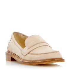 DUNE LADIES GERRY - Saddle Detail Leather Loafer Shoe - nude   Dune Shoes Online