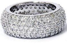 Pompeii3 3 1/2ct Pave Diamond Eternity Ring 14k White Gold. #DiamondEternityRings