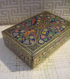 Beautiful Vintage English Biscuit Tin Box with Blue by tinprincess