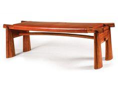 Leather Bench, 1993,bubinga, leather,1.4 x 4.3 x 1.25 ft