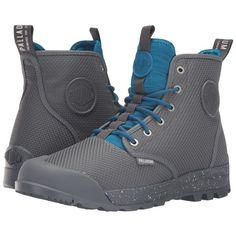 Palladium Pampatech HI TX (Castle Rock/Mykonos Blue) Lace up casual... ($100) ❤ liked on Polyvore featuring shoes, boots, bootie boots, short lace up boots, palladium boots, lacing boots and lace up bootie