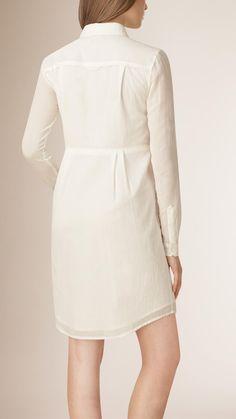 Pleat Деталь платье рубашка хлопка | барберри