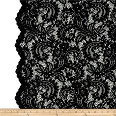 Telio Amelia Lace Black from This beautiful lace fabric is perfect for tops, overlays, accents and lingerie. It features a slight stretch and scalloped borders along both selvedges. Black Lace Fabric, Beaded Lace Fabric, Fabric Beads, Embroidered Lace, Lace Embroidery, Rock Chic, Glam Rock, Lace Wallpaper, Amelia