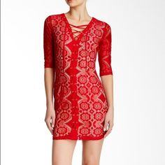 🎉HP🎉NWOT red lace up lace dress 3/4 sleeve Brand new never worn. Bought from Nordstrom but the brand is Soiéblu. It bodycon style so runs  somewhat tight. Please ask for measurements before purchase to make sure it fits Nordstrom Dresses