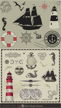 Vintage marine elements vector