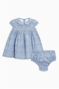 Blue Ditsy Smocked Dress And Knickers (0mths-2yrs)
