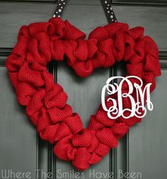 Tutorial for making a Valentine's burlap heart wreath with couple's monogram. So easy & such a great way to add some personalized Valentine's Day decor!