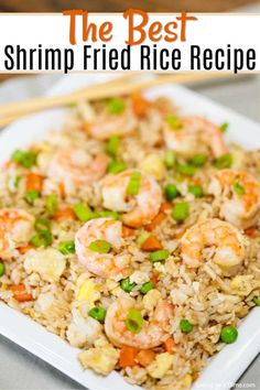 Skip takeout and make this delicious Shrimp Fried Rice Recipe at home in minutes. The shrimp and veggies have the best flavor to make the perfect meal. Shrimp Fried Rice Recipe - The best shrimp fried Shrimp Recipes For Dinner, Seafood Recipes, Cooking Recipes, Shrimp And Rice Recipes, Shrimp Dishes, Rice Dishes, Shrimp And Vegetables, Veggies, Asian Recipes