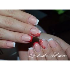 #NailArt by @ludochka666 - add a splash of color or design to the french manicure to give it a little something special.