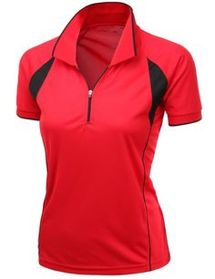 This light, soft and breathable womens Coolmax fabric sporty feel functional short sleeve golf polo shirt by Xpril is made from 90% coolmax and 10% polyester