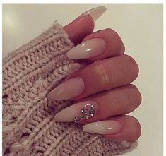 Clear gel nail design with gems