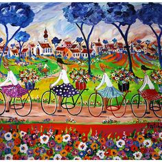 Portchie - South African artist Bicycle Painting, Bicycle Art, Colorful Pictures, Art Pictures, Art Pics, African Colors, South African Artists, Watercolor Sketch, Home Art