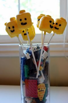 marshmallows dipped in chocolate (white +yellow food colouring)  Have at party along with lego goody-bags (see funny ideas board)