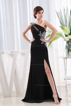 Elegant One Shoulder With Beading Decoration Chiffon Floor-Length Evening Dress