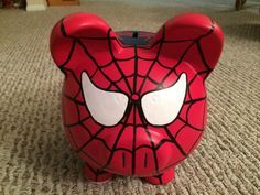 The Amazing Spider-Man Hand Painted Ceramic Piggy Bank Large Little Kitty, My Little Pony, I Shop, My Etsy Shop, Male Hands, Hand Painted Ceramics, Amazing Spider, Ceramic Painting, Superhero