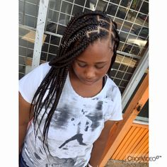 Large mid back Length Knotless Braids Kids Box Braids, Small Box Braids, Medium Box Braids, Long Box Braids, Box Braids Hairstyles For Black Women, Braided Hairstyles For Black Women, Twist Hairstyles, Protective Hairstyles, Messy Bun With Braid