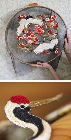 Tulle embroidery by Krista Decor // bird embroidery // floral embroidery // hoop art