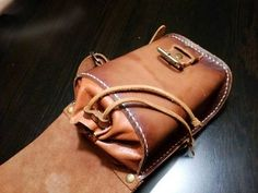 The perfect gift for a motorcyclist, cyclist, for all those who love freedom of movement. Bag on the thigh for documents, gadgets and important details. Great for Walking with a dog. The leather of the noble color cognac is impregnated with a special composition protecting from rain and sun,