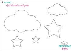 Tuto DIY : Gabarit pour réaliser une guirlande de nuages et d'étoiles en papier calque Coin Couture, Baby Couture, Silhouette Curio, Silhouette Portrait, Craft Gifts, Diy Gifts, Felt Crafts, Diy And Crafts, Alphabet Templates