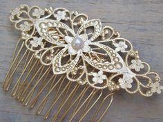 25,08+5,00. romantico+pettine+pizzo+oro+con+perla++di+Modern,+Affordable,+Fashionable+Jewelry♥++su+DaWanda.com