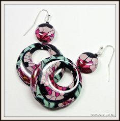 polymer clay Vintage Rose Hoop Earrings handmade by BeadazzleMe, $18.00
