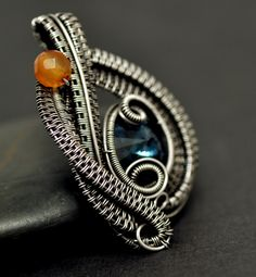 Nicole Hanna Jewelry | Denim Crystal Wire Wrapped Pendant, Silver-Filled Wire | Online Store Powered by Storenvy