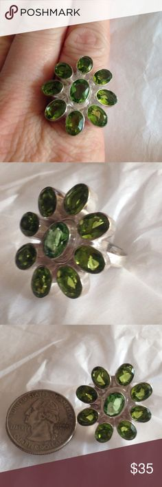 % 925 Sterling silver peridot ring size 7 Gorgeous ✨ sparkling %  peridot gem stone ring set in an % 925 Sterling Silver setting. Size 7, handmade, high quality. Matching earrings & necklace available  NWOT  Handmade Jewelry Rings