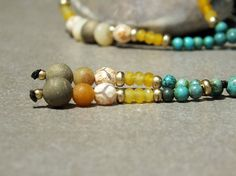 CHRISTMAS SALE Brass Bead Necklace Gemstone Mala Yellow