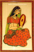 """""""Girl Waiting - Glass Painting by CristalArt"""" The glass painting depicts the image of a traditional Indian Girl waiting for her beloved..."""