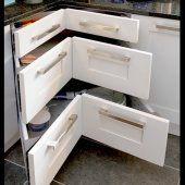 Small Kitchen Remodel drawers. Love how it uses up the corner space!