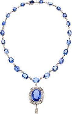 Art Deco Ceylon Sapphire, Diamond, Platinum Pendant-Necklace, J.E.Caldwell & Co.