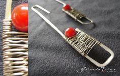 Long Silver Plated Earrings With a Coral Pearl by YolandaTzina - Jewellery