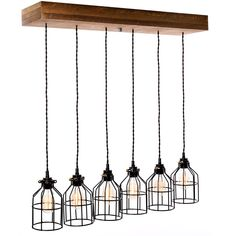 Farmhouse Lighting Flush Mount Pendant Light Chandelier - Rustic Lighting for Kitchen Island Lighting, Dining Room, Bar, Industrial, and Billiard Table-Wooden Light with Edison Cages (Six Lights) Family Room Lighting, Dining Lighting, Kitchen Island Lighting, Farmhouse Lighting, Rustic Lighting, Cool Lighting, Outdoor Lighting, Rustic Chandelier, Pendant Chandelier