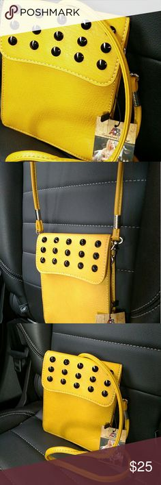 Crossbody purse Unique very cool yellow leather crossbody messenger style purse American Bling by Montana West Accessories