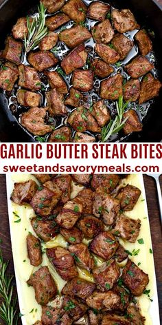 Garlic Butter Steak Bites packs a ton of flavor into juicy sirloin cubes drizzled with a delicious garlic-butter pan sauce. #steak #steakbites #garlicbuttersteakbites #easydinner #sweetandsavorymeals