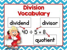 Division Anchor Chart (vocabulary) - free! Division Anchor Chart, Math Division, Math Charts, Math Anchor Charts, Have Fun Teaching, Teaching Math, Math Resources, Math Activities, 4th Grade Math