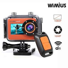 CUBICCAM+ 1080P Action Camera 16MP Waterproof Sports Camcorder with Wifi Remote Control (Orange) | Action Cameras And Accessories