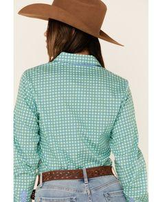 Cinch Women's Green Tile Print Button Front Long Sleeve Western Shirt , Green Country Wear, Print Button, Button Down Collar, Western Shirts, Printed Cotton, Westerns, Print Patterns, Tile, Buttons