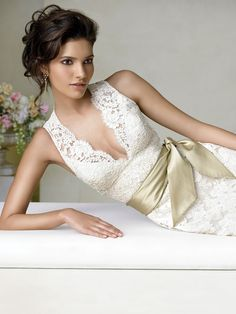 Jim Hjelm Alencon Lace Slim Fitted Wedding Dress WDJH002...love the neckline