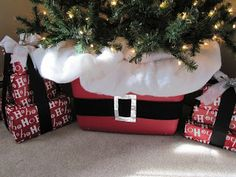 Use a red plastic tub decorated with a Santa belt and snow (batting) in place of a tree skirt.  Easier to sweep up falling needles and no need to adjust or worry about dirt from dogs and cats.