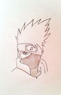 Drawing of Kakashi (naruto). Kakashi Drawing, Naruto Sketch Drawing, Naruto Drawings, Art Drawings Sketches Simple, Naruto Art, Anime Sketch, Cartoon Drawings, Cartoon Art Styles, Cute Drawings