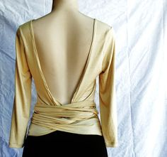 Wrap Top Backless Womens Clothing Knit Back Out Bow by FineThreadz