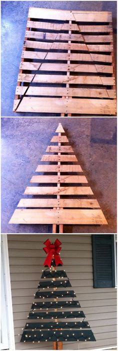 Awesome DIY Christmas Decorating Ideas and Tutorials Pallet Christmas Tree for the Front Porch Decoration.Pallet Christmas Tree for the Front Porch Decoration. Noel Christmas, Winter Christmas, Christmas Ornaments, Rustic Christmas, Christmas Room, Pallet Wood Christmas Tree, Christmas Skirt, Christmas Movies, Christmas Palette