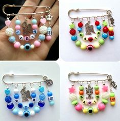 These little brooches are adorable and would be great to wear for a baby shower, to add to a mum or a door hanger, etc. Safety Pin Crafts, Safety Pin Jewelry, Wire Jewelry, Beaded Jewelry, Handmade Jewelry, Zipper Jewelry, Jewellery, Bead Crafts, Jewelry Crafts