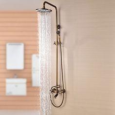 Antique Brass Tub Shower Taps with 8 inch Shower Head + Hand Shower