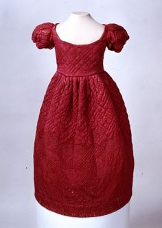 Red #quilted girl's dress, late 18th century, Germany.