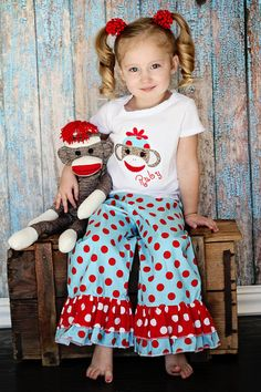 Double Ruffle Pants with Appliqued Top