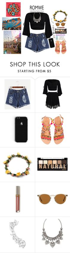 """""""Blue Denim Shorts in the Lollapalooza!!"""" by giulisdasf ❤ liked on Polyvore featuring Boohoo, Elina Linardaki, NYX, Oliver Peoples and Forever 21"""