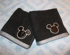Mickey and Minnie Mouse Ears Silhouette Embroidered Applique Black and White Washcloth