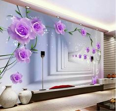 Beibehang Papel De Parede Purple Roses Flowers Photo Mural Wallpaper Bedroom  Background Wall Papers Home Decor Living Room